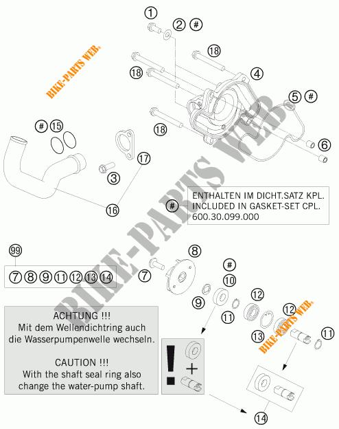POMPE A EAU pour KTM 990 ADVENTURE BLACK ABS de 2007 # KTM