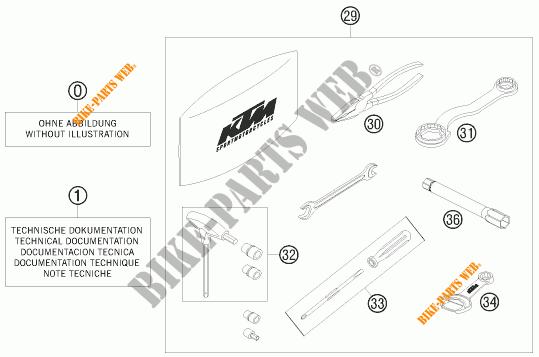 TROUSSE A OUTILS / MANUELS / OPTIONS pour KTM 690 SMC de