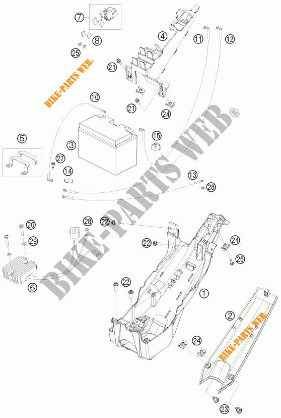 BATTERIE pour KTM 1190 RC8 ORANGE de 2009 # KTM