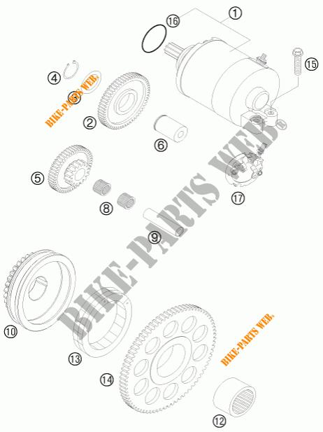 DEMARREUR ELECTRIQUE pour KTM 525 XC ATV de 2009 # KTM
