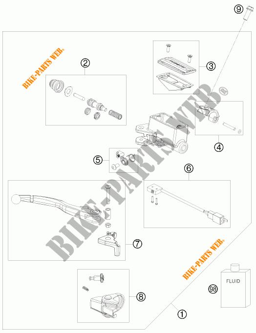 MAITRE CYLINDRE DE FREIN AVANT pour KTM 525 XC ATV de 2008