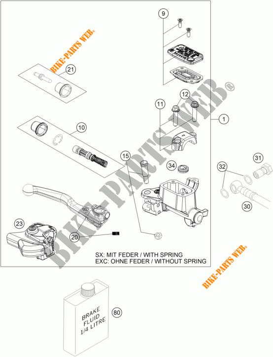 MAITRE CYLINDRE DE FREIN AVANT pour KTM 300 XC-W SIX DAYS