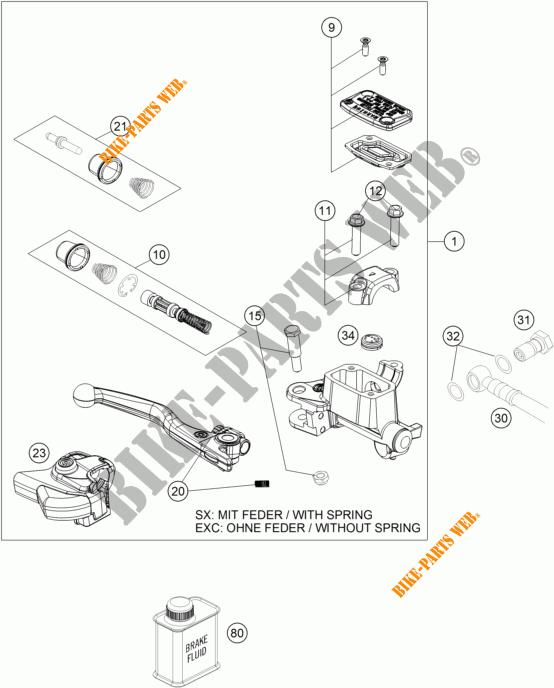 MAITRE CYLINDRE DE FREIN AVANT pour KTM 300 XC-W de 2017