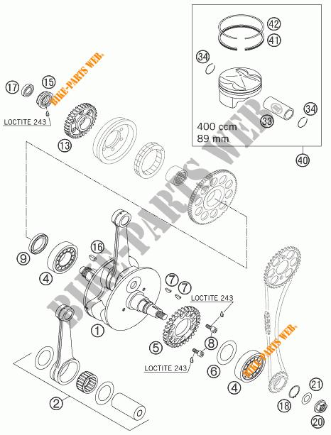 VILEBREQUIN / PISTON pour KTM 400 XC-W de 2007 # KTM