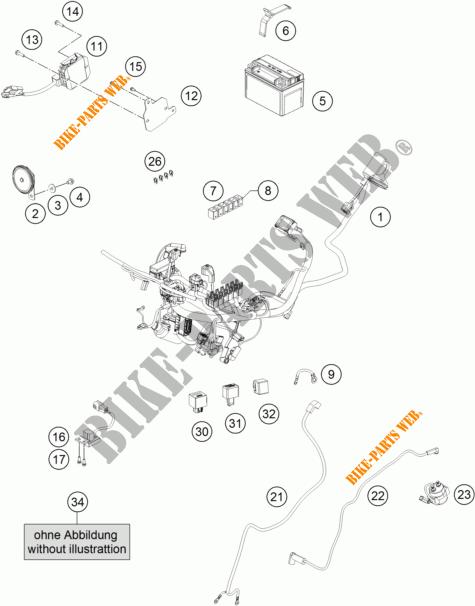 FAISCEAU ELECTRIQUE pour KTM RC 390 WHITE ABS de 2016