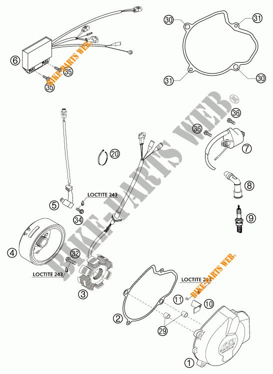 ALLUMAGE pour KTM 525 EXC RACING SIX DAYS de 2003 # KTM