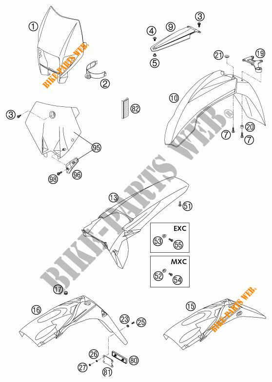 PLASTIQUES 300 EXC EXC 2003 300 KTM Ktm moto # KTM