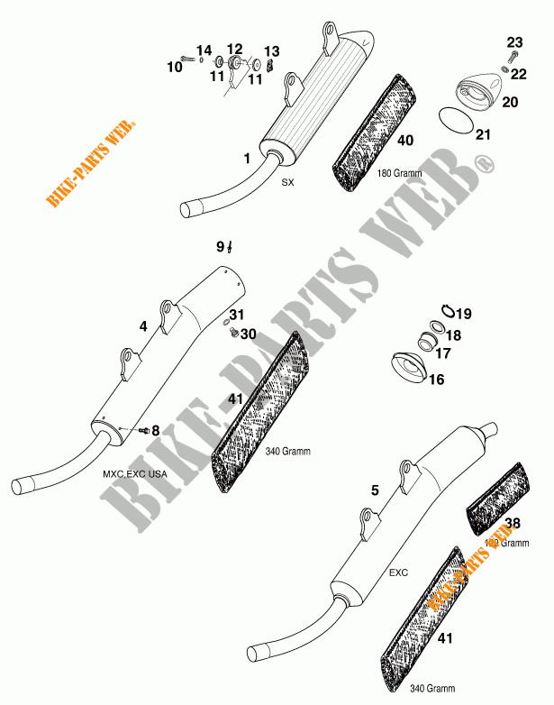 SILENCIEUX D'ECHAPPEMENT pour KTM 300 EXC de 2000 # KTM