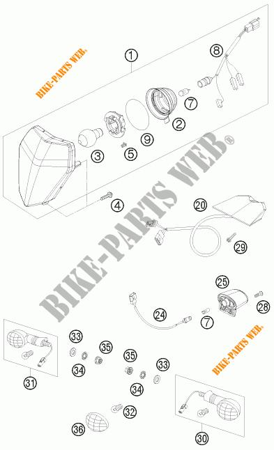 PHARE / FEU ARRIERE pour KTM 250 EXC-F de 2009 # KTM