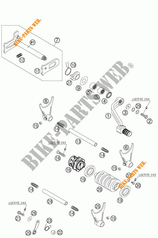 MECANISME DE SELECTION DE VITESSES pour KTM 450 EXC RACING