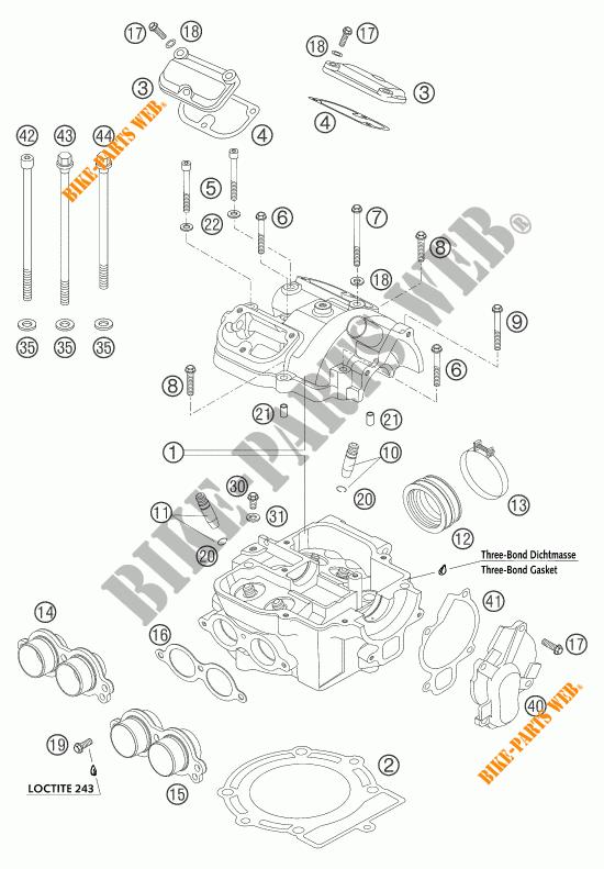 CYLINDRE / CULASSE pour KTM 450 EXC RACING de 2004 # KTM
