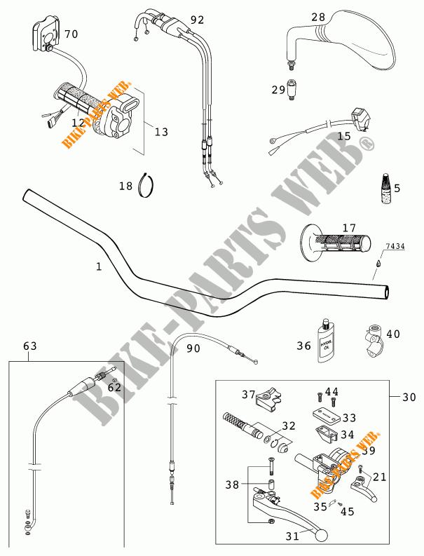 GUIDON / COMMANDES pour KTM 400 EXC RACING de 2001 # KTM