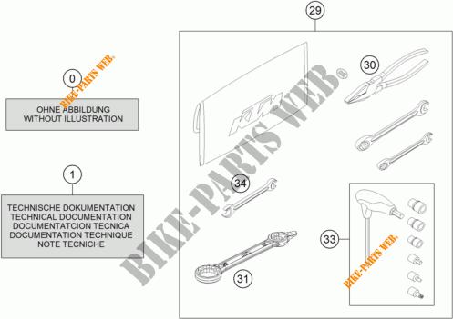TROUSSE A OUTILS / MANUELS / OPTIONS pour KTM 350 EXC-F de