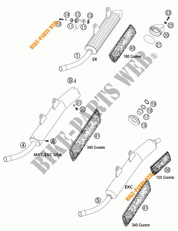 SILENCIEUX D'ECHAPPEMENT pour KTM 250 EXC de 2002 # KTM