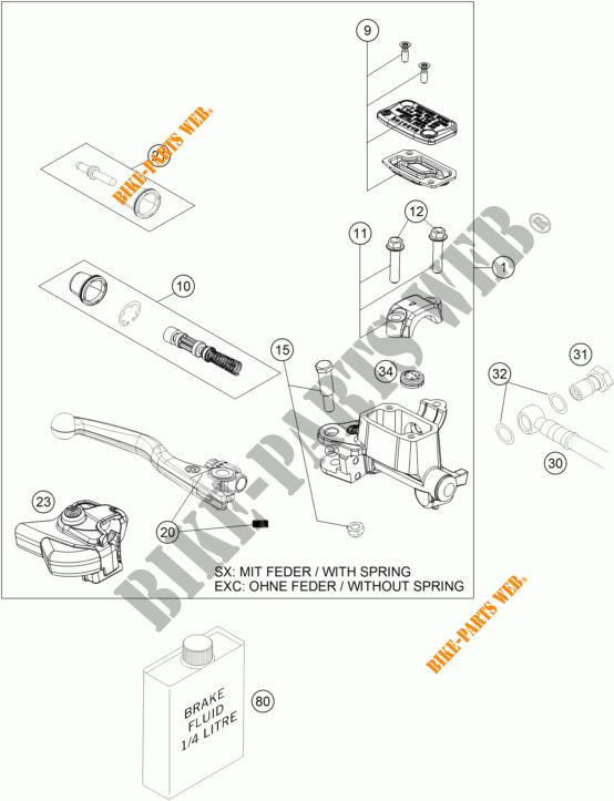 MAITRE CYLINDRE DE FREIN AVANT pour KTM 450 SX-F FACTORY