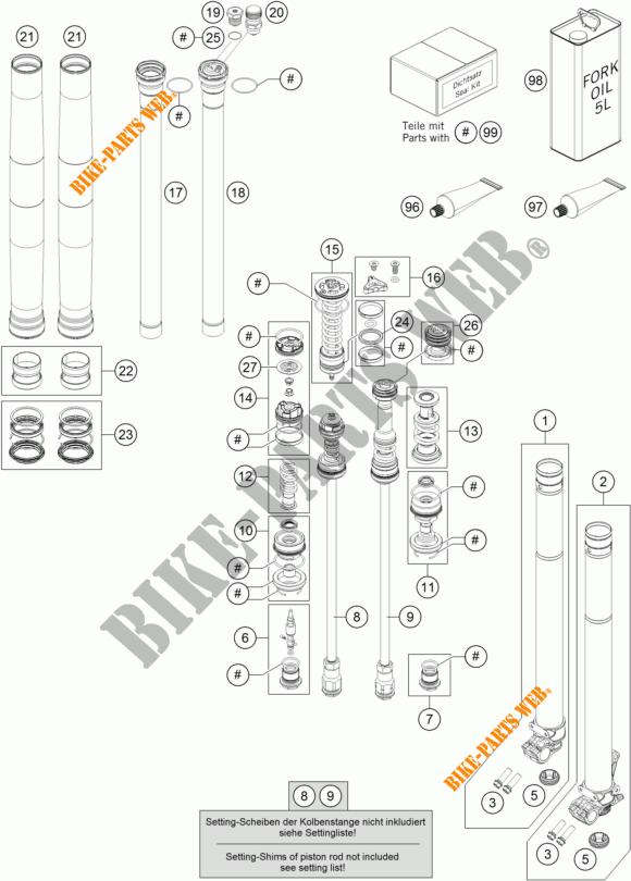 FOURCHE (PIECES) pour KTM 450 SX-F FACTORY EDITION de 2017