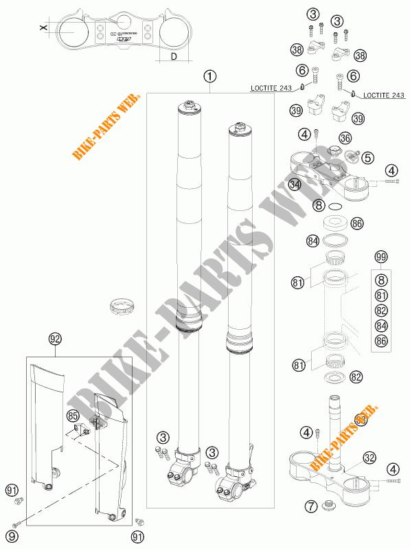 FOURCHE / T DE FOURCHE pour KTM 450 SX-F de 2009 # KTM