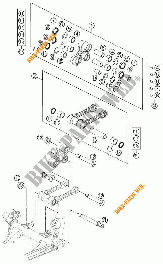 BIELLETTE D'AMORTISSEUR PRO LEVER pour KTM 350 SX-F