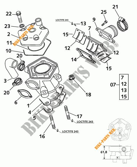 CYLINDRE / CULASSE pour KTM 65 SX de 2000 # KTM