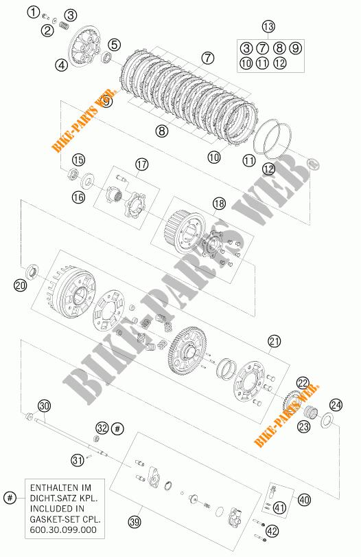 EMBRAYAGE pour KTM 990 SUPER DUKE ORANGE de 2010 # KTM