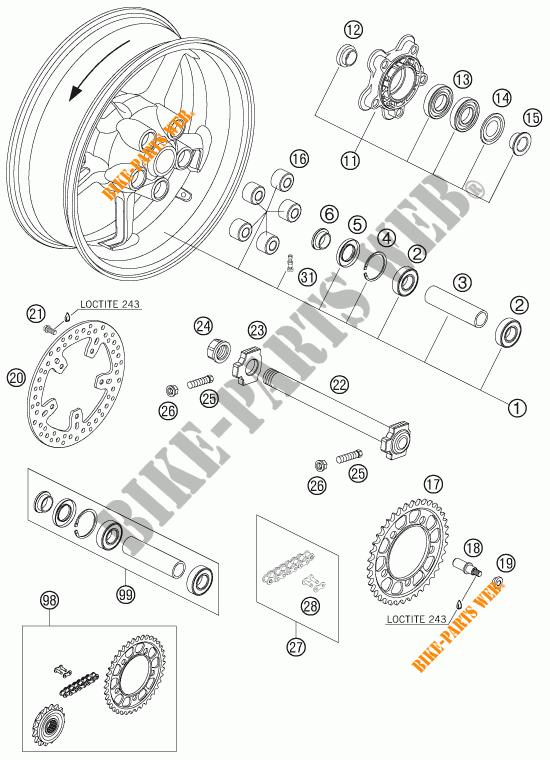 ROUE ARRIERE pour KTM 990 SUPER DUKE ORANGE de 2007 # KTM