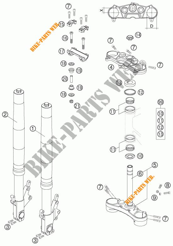 FOURCHE / T DE FOURCHE pour KTM 990 SUPERDUKE TITANIUM de