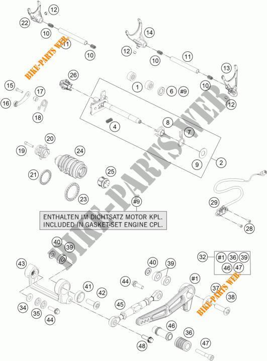 MECANISME DE SELECTION DE VITESSES pour KTM 1290 SUPER