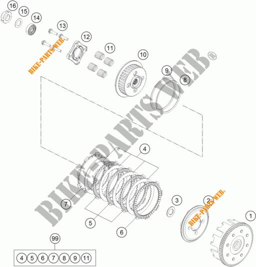 EMBRAYAGE pour KTM 125 DUKE WHITE de 2018 # KTM