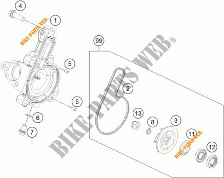 POMPE A EAU pour KTM 125 DUKE ORANGE ABS de 2016 # KTM