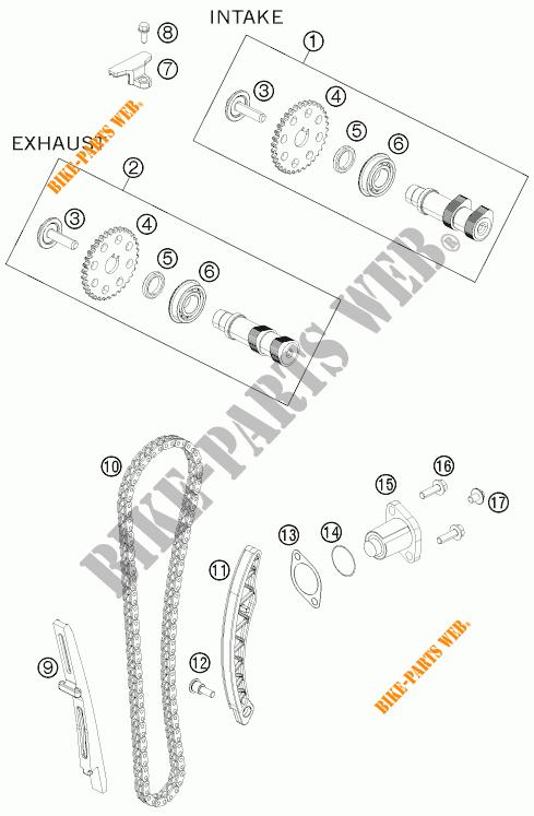 DISTRIBUTION pour KTM 125 DUKE ORANGE de 2011 # KTM