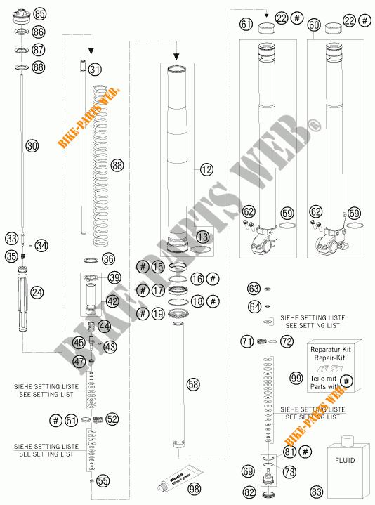 FOURCHE (PIECES) pour KTM 950 SUPER ENDURO R de 2009 # KTM