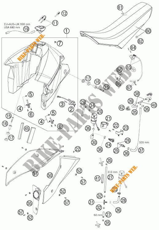 RESERVOIR / SELLE pour KTM 950 SUPER ENDURO R de 2007