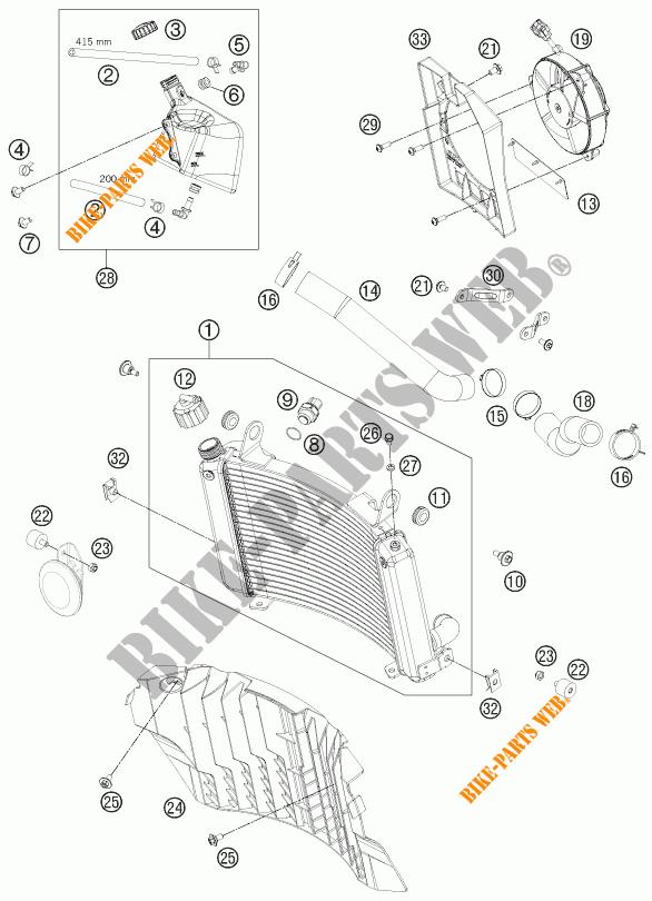 CIRCUIT DE REFROIDISSEMENT pour KTM 690 ENDURO R de 2012