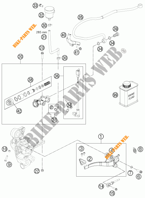 MAITRE CYLINDRE DE FREIN ARRIERE pour KTM 690 ENDURO R de