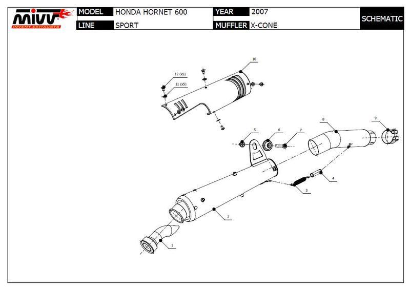 Mivv silencieux XCone inox pour Honda 600 Hornet 2007/2010