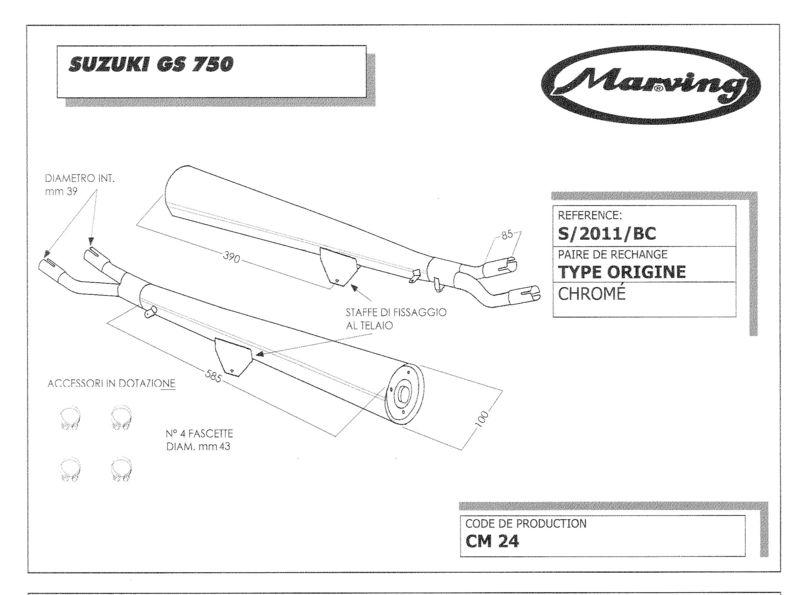 Marving 2 silencieux chromés pour Suzuki GS 750 (GS750E/D