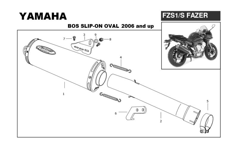 Bos Silencieux Ovale 120mm en inox poli miroir pour Yamaha