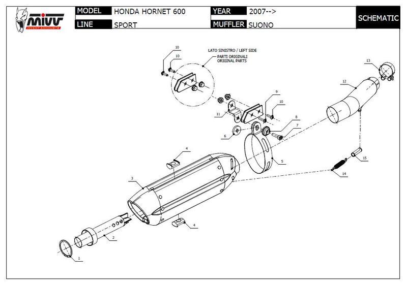 Mivv silencieux Suono carbone pour Honda 600 Hornet 2007