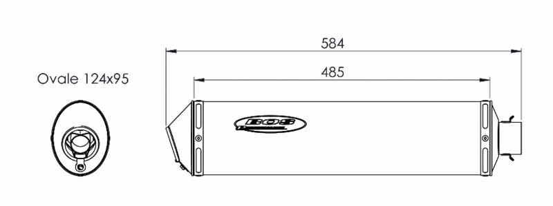 Bos silencieux ovale inox look carbone Hyper pour Suzuki