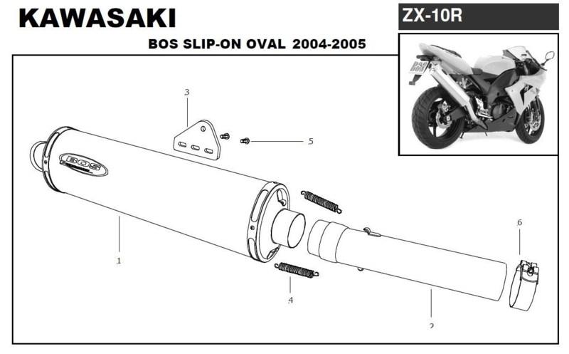 Bos silencieux Ovale alu pour Kawasaki ZX10R Ninja 2004