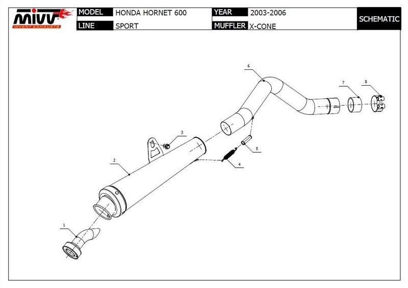Mivv silencieux X-Cone pour 600 Hornet PC36 2003/2006