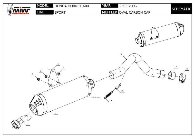 Mivv silencieux Sportline carbone pour 600 Hornet PC36