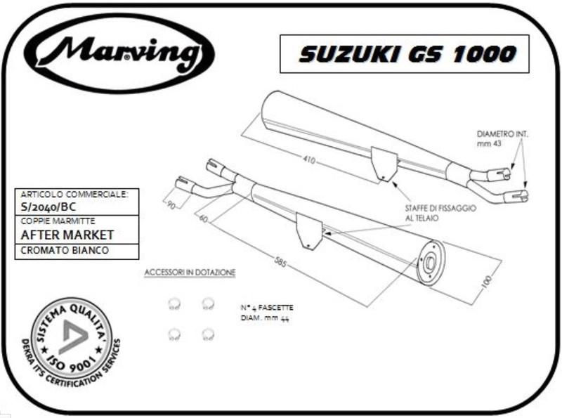 Marving 2 silencieux chromés pour GS 1000 et GS 1000S