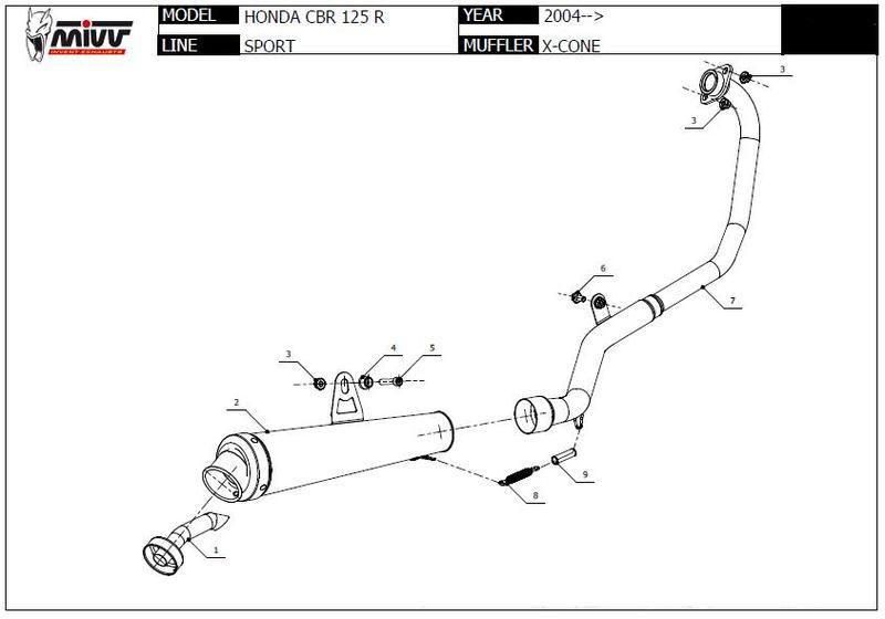 Mivv XCone inox Ligne 1 en 1 pour Honda CBR 125 JC34/JC39