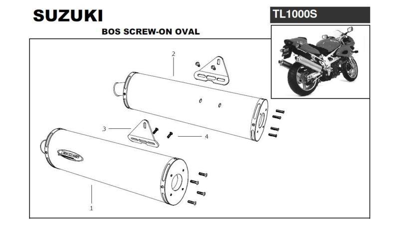 Bos 2 silencieux alu Ovale 110 pour Suzuki TL1000S