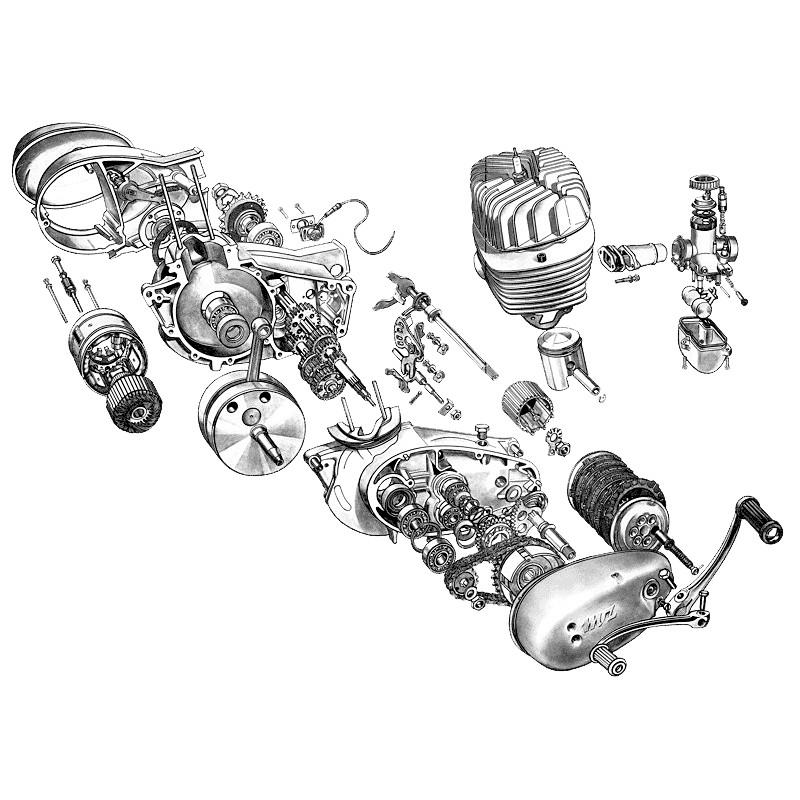 Moteur MZ TS 125 et TS 150, pièces détachées pour votre