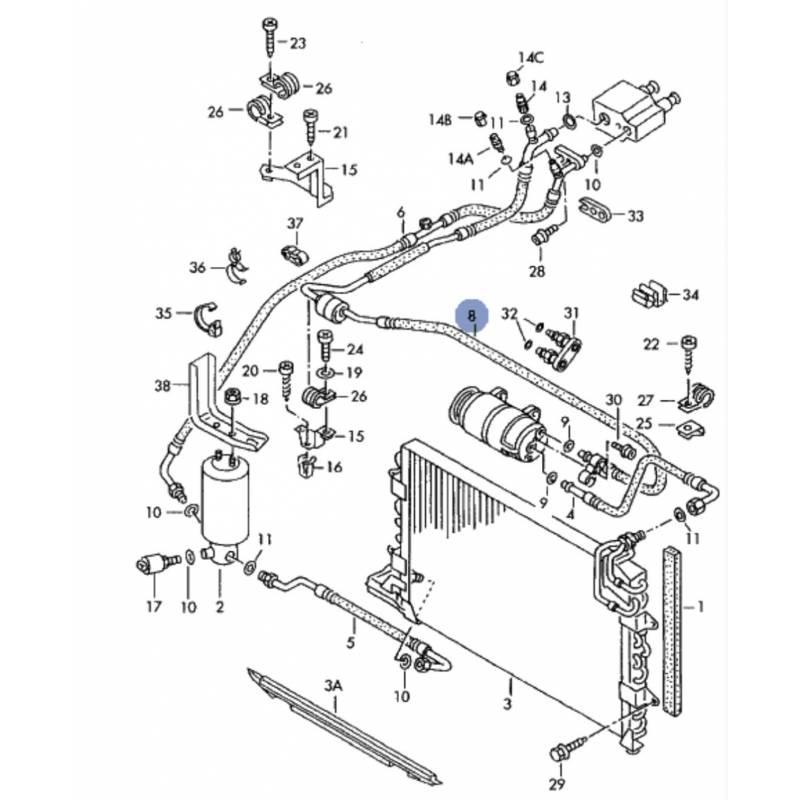 Tuyau de climatisation / Flexible de réfrigérant pour VW