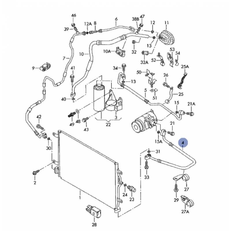 Tuyau de climatisation / Flexible de réfrigérant pour Audi