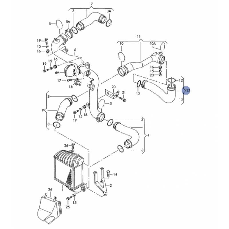 Durite d'échangeur de turbo, flexible de raccord pour vw