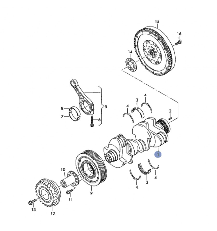Crankshaft for audi, vw, marine-motore v6 3l tdi ref